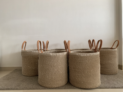 Jute rope coil baskets
